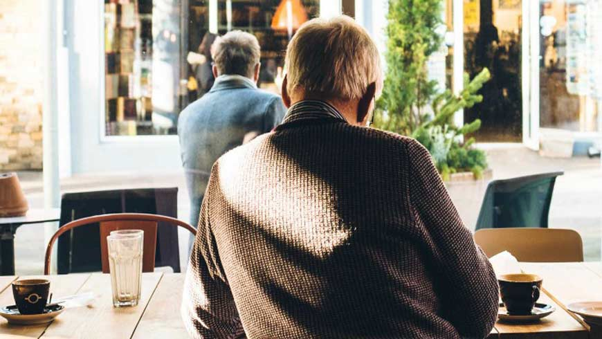 A man sitting in a cafe