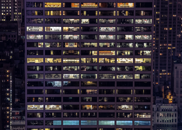 Size matters - A variety of office windows in a large building.