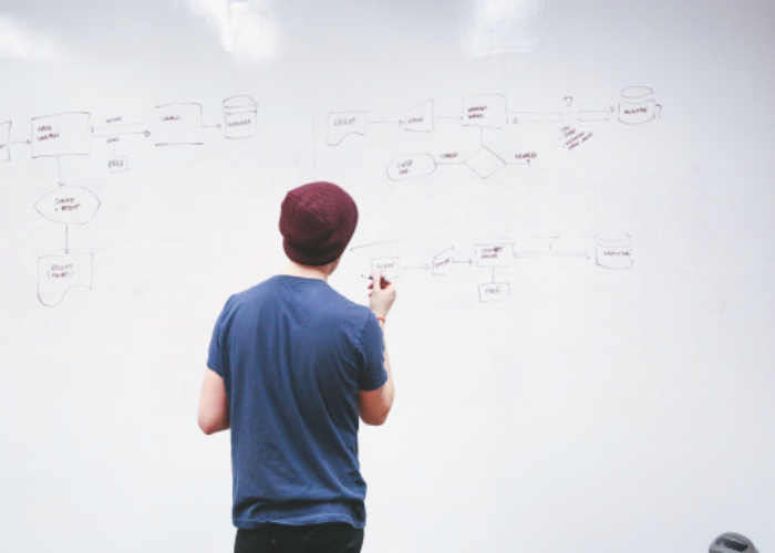 Innovation. Does Imitating The Best Undermine Your Own Success? Man at a whiteboard.