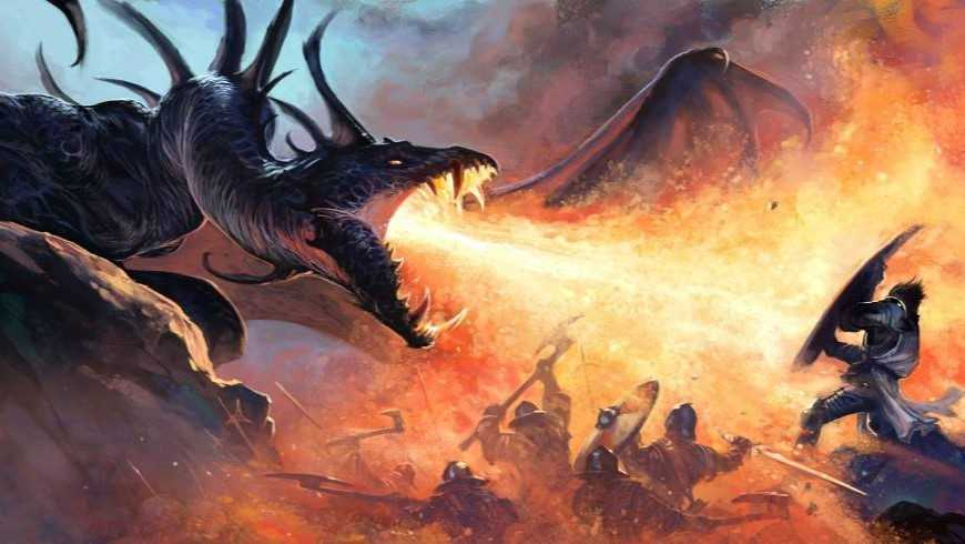 Knights fighting fire-breathing dragon
